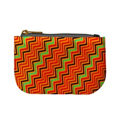 Orange Turquoise Red Zig Zag Background Mini Coin Purses by BangZart