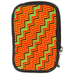 Orange Turquoise Red Zig Zag Background Compact Camera Cases by BangZart