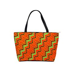 Orange Turquoise Red Zig Zag Background Shoulder Handbags by BangZart
