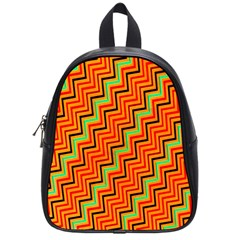Orange Turquoise Red Zig Zag Background School Bags (small)  by BangZart