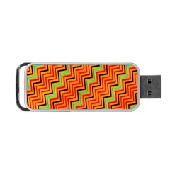 Orange Turquoise Red Zig Zag Background Portable Usb Flash (two Sides) by BangZart