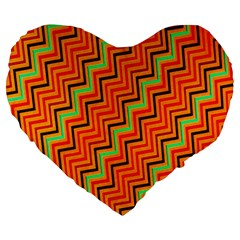 Orange Turquoise Red Zig Zag Background Large 19  Premium Heart Shape Cushions by BangZart