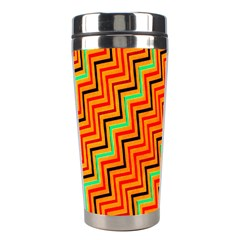 Orange Turquoise Red Zig Zag Background Stainless Steel Travel Tumblers