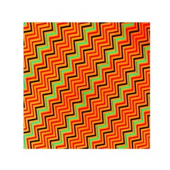 Orange Turquoise Red Zig Zag Background Small Satin Scarf (square) by BangZart