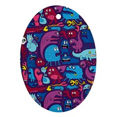 Hipster Pattern Animals And Tokyo Ornament (oval) by BangZart