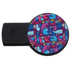 Hipster Pattern Animals And Tokyo Usb Flash Drive Round (2 Gb) by BangZart