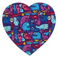 Hipster Pattern Animals And Tokyo Jigsaw Puzzle (heart) by BangZart