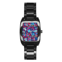 Hipster Pattern Animals And Tokyo Stainless Steel Barrel Watch by BangZart