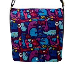 Hipster Pattern Animals And Tokyo Flap Messenger Bag (l)  by BangZart