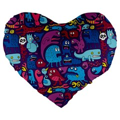Hipster Pattern Animals And Tokyo Large 19  Premium Flano Heart Shape Cushions by BangZart