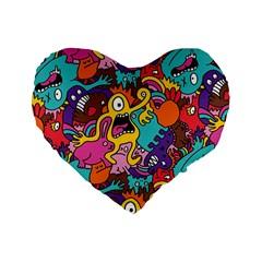 Monster Patterns Standard 16  Premium Heart Shape Cushions