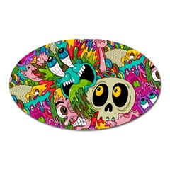 Crazy Illustrations & Funky Monster Pattern Oval Magnet by BangZart