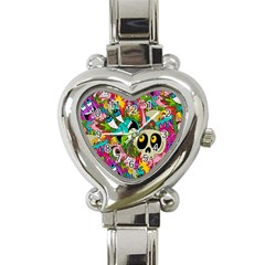 Crazy Illustrations & Funky Monster Pattern Heart Italian Charm Watch by BangZart
