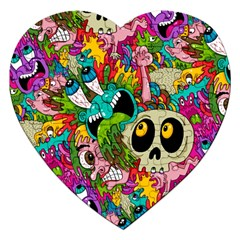 Crazy Illustrations & Funky Monster Pattern Jigsaw Puzzle (heart) by BangZart