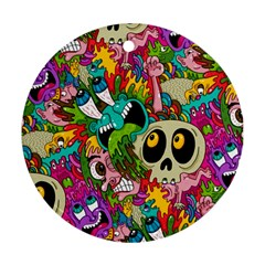 Crazy Illustrations & Funky Monster Pattern Round Ornament (two Sides) by BangZart