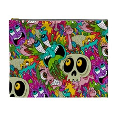 Crazy Illustrations & Funky Monster Pattern Cosmetic Bag (xl) by BangZart