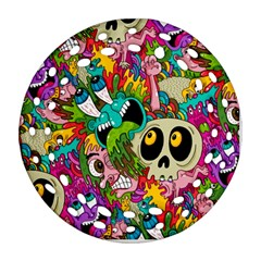 Crazy Illustrations & Funky Monster Pattern Ornament (round Filigree) by BangZart