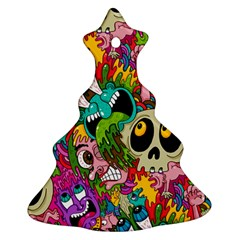 Crazy Illustrations & Funky Monster Pattern Christmas Tree Ornament (two Sides) by BangZart