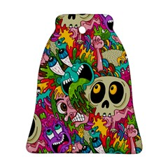 Crazy Illustrations & Funky Monster Pattern Bell Ornament (two Sides)