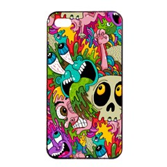 Crazy Illustrations & Funky Monster Pattern Apple Iphone 4/4s Seamless Case (black) by BangZart