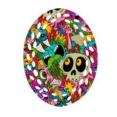 Crazy Illustrations & Funky Monster Pattern Oval Filigree Ornament (two Sides) by BangZart