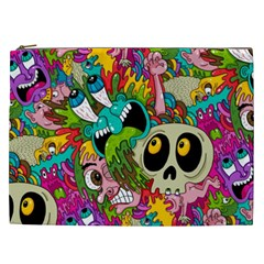Crazy Illustrations & Funky Monster Pattern Cosmetic Bag (xxl)  by BangZart