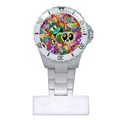 Crazy Illustrations & Funky Monster Pattern Plastic Nurses Watch