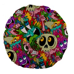 Crazy Illustrations & Funky Monster Pattern Large 18  Premium Flano Round Cushions by BangZart