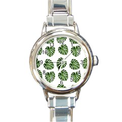 Leaf Pattern Seamless Background Round Italian Charm Watch by BangZart