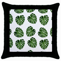 Leaf Pattern Seamless Background Throw Pillow Case (black) by BangZart