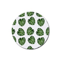 Leaf Pattern Seamless Background Rubber Coaster (round)  by BangZart