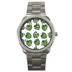 Leaf Pattern Seamless Background Sport Metal Watch by BangZart