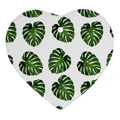 Leaf Pattern Seamless Background Heart Ornament (two Sides) by BangZart