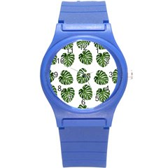 Leaf Pattern Seamless Background Round Plastic Sport Watch (s) by BangZart