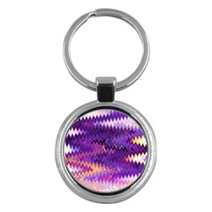 Purple And Yellow Zig Zag Key Chains (round)  by BangZart