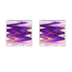 Purple And Yellow Zig Zag Cufflinks (Square)