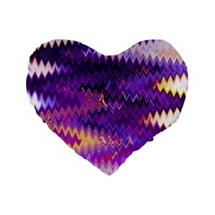 Purple And Yellow Zig Zag Standard 16  Premium Flano Heart Shape Cushions by BangZart
