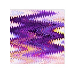 Purple And Yellow Zig Zag Small Satin Scarf (square) by BangZart