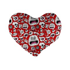 Another Monster Pattern Standard 16  Premium Flano Heart Shape Cushions by BangZart