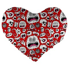 Another Monster Pattern Large 19  Premium Flano Heart Shape Cushions by BangZart
