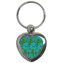 Swamp Monster Pattern Key Chains (heart)  by BangZart