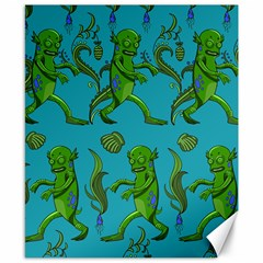 Swamp Monster Pattern Canvas 8  X 10  by BangZart