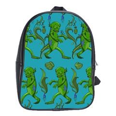 Swamp Monster Pattern School Bags (xl)  by BangZart