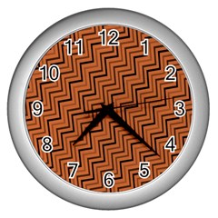 Brown Zig Zag Background Wall Clocks (silver)  by BangZart