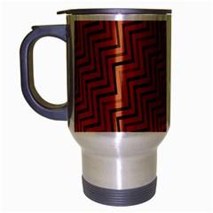 Brown Zig Zag Background Travel Mug (silver Gray) by BangZart