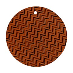 Brown Zig Zag Background Round Ornament (two Sides) by BangZart