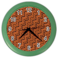 Brown Zig Zag Background Color Wall Clocks by BangZart