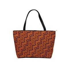 Brown Zig Zag Background Shoulder Handbags by BangZart