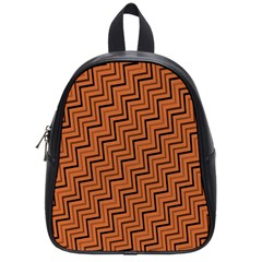 Brown Zig Zag Background School Bags (small)  by BangZart
