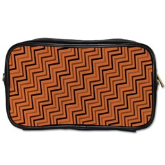 Brown Zig Zag Background Toiletries Bags by BangZart